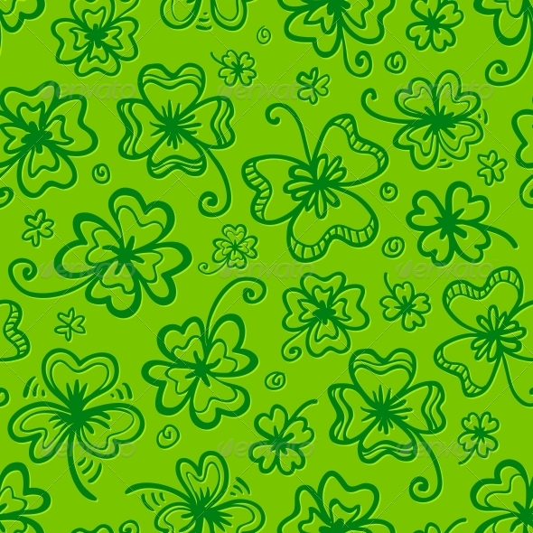 GraphicRiver Green Hand Drawn Clovers Seamless Pattern 4281682