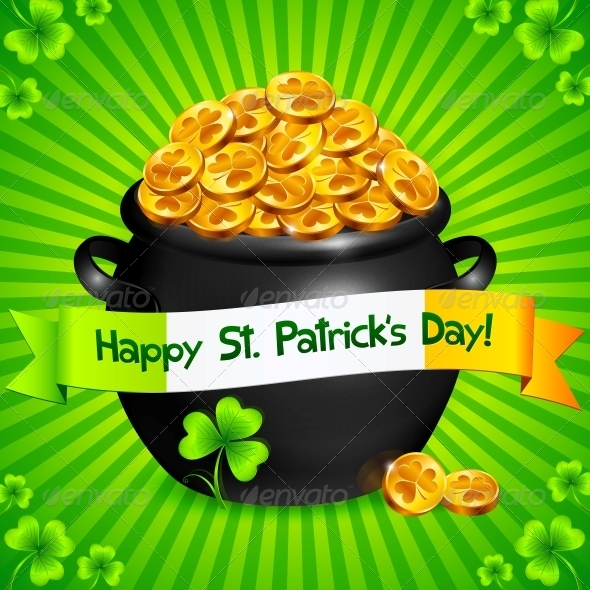 GraphicRiver Black Pot of Leprechauns Gold with Lucky Clovers 4281686