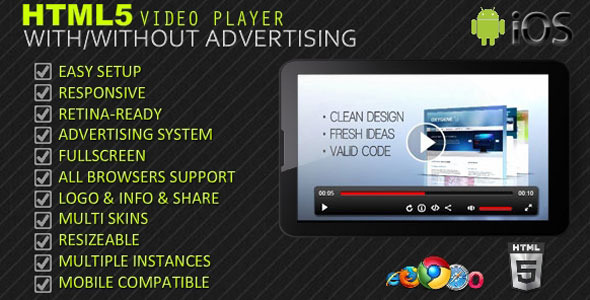 CodeCanyon HTML5 Responsive Video Player & Advertising 4282278