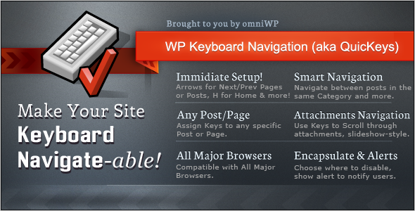 WP Keyboard Navigation (aka QuicKeys) - WorldWideScripts.net Item for Sale