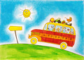 School bus trip, child's drawing, watercolor painting on paper - PhotoDune Item for Sale