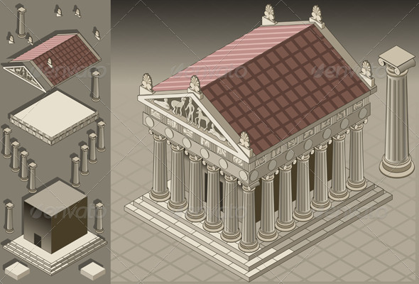 GraphicRiver Isometric Greek Temple in Ionic Architecture 4285554