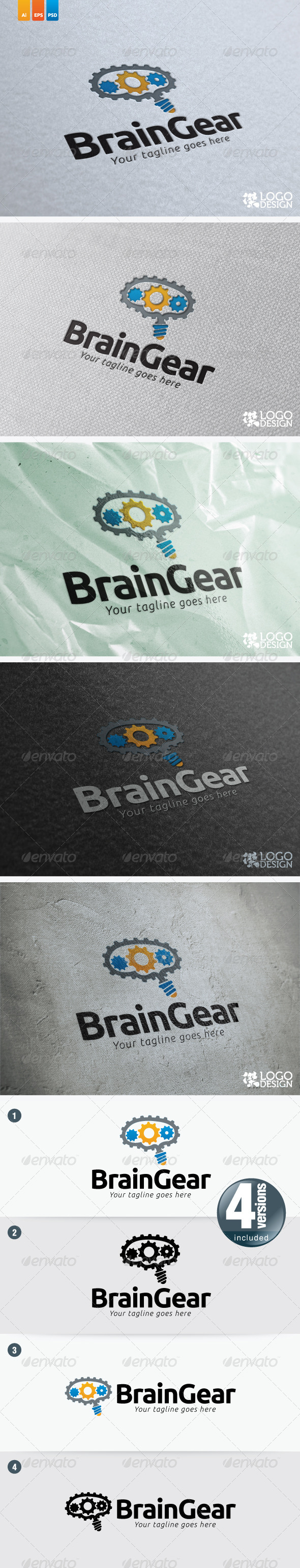 Brain Gear - Objects Logo Templates