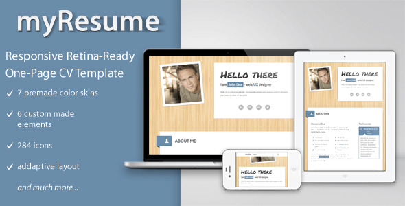 myResume Responsive One-Page Retina-Ready Resume