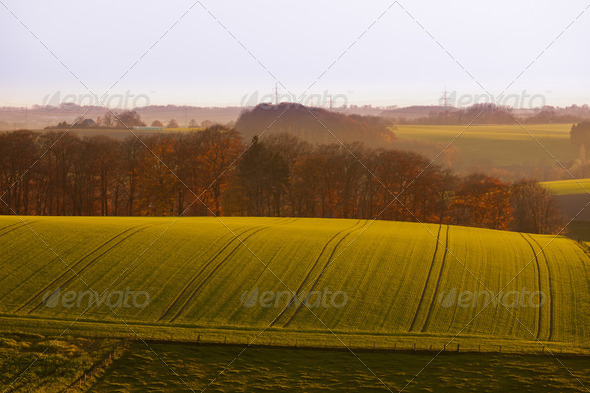 Gently rolling hills farmland of Germany Europe - Stock Photo - Images
