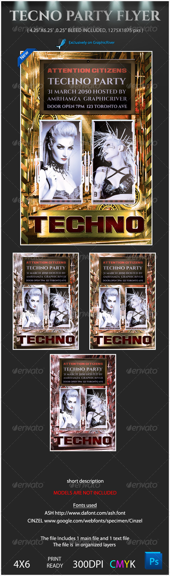 GraphicRiver Techno Party Flyer Template 4008072