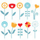 Retro Spring Flowers Set Isolated on White - GraphicRiver Item for Sale