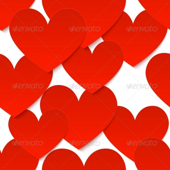 GraphicRiver Red Vector Paper Hearts at White Background 4289043