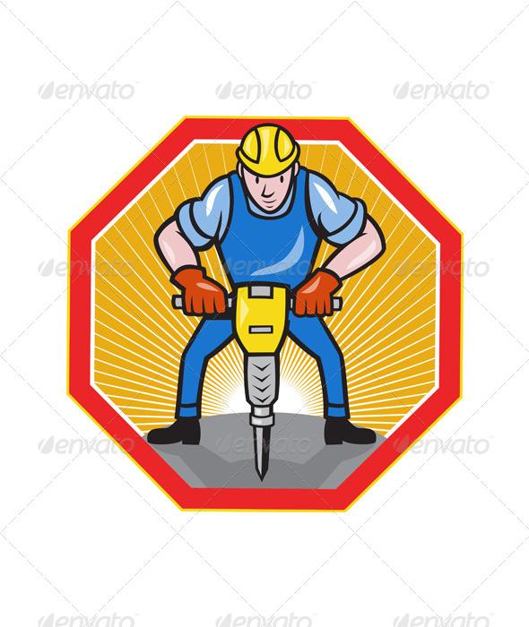GraphicRiver Construction Worker Jackhammer Pneumatic Drill 4291421