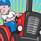 Farmer Driving Vintage Tractor Cartoon - GraphicRiver Item for Sale