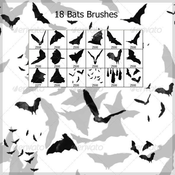 18 Bats Brushes (2500px) - Brushes Photoshop