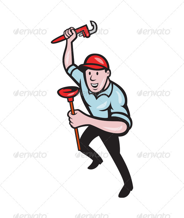 GraphicRiver Plumber With Monkey Wrench And Plunger Cartoon 4291629