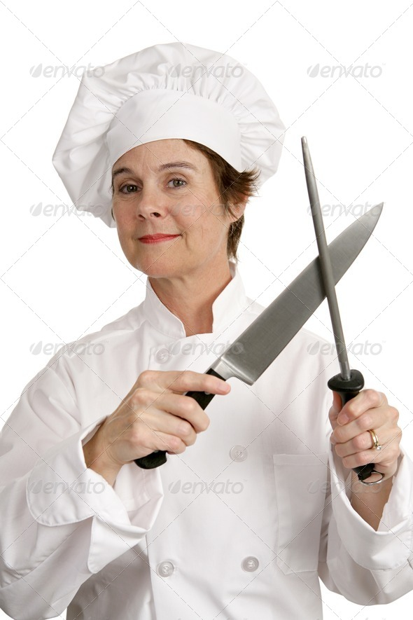 Competent Chef with Knife - Stock Photo - Images