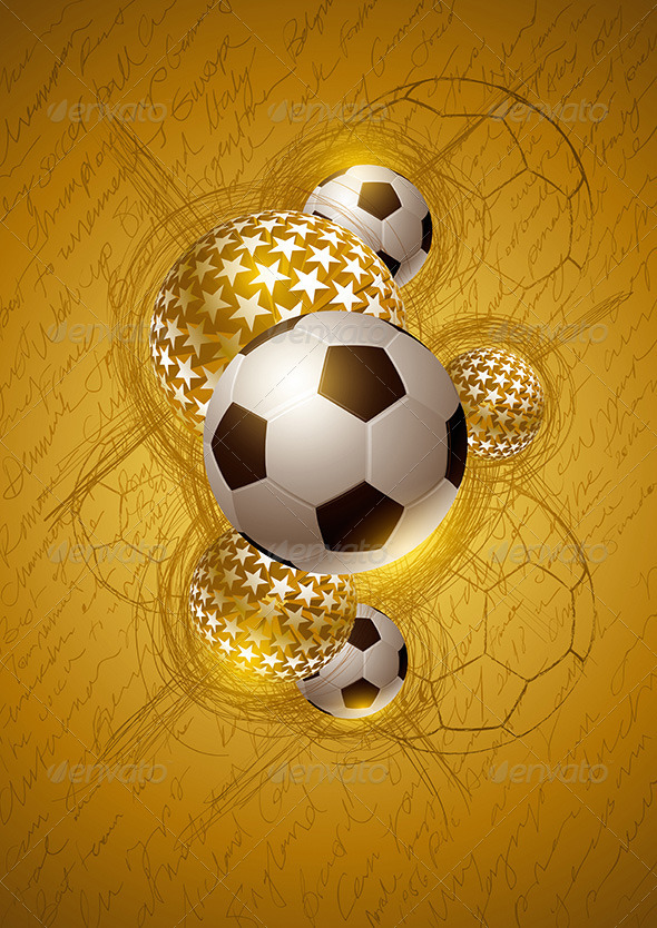GraphicRiver Soccer Ball Gold Abstract Design 4293904