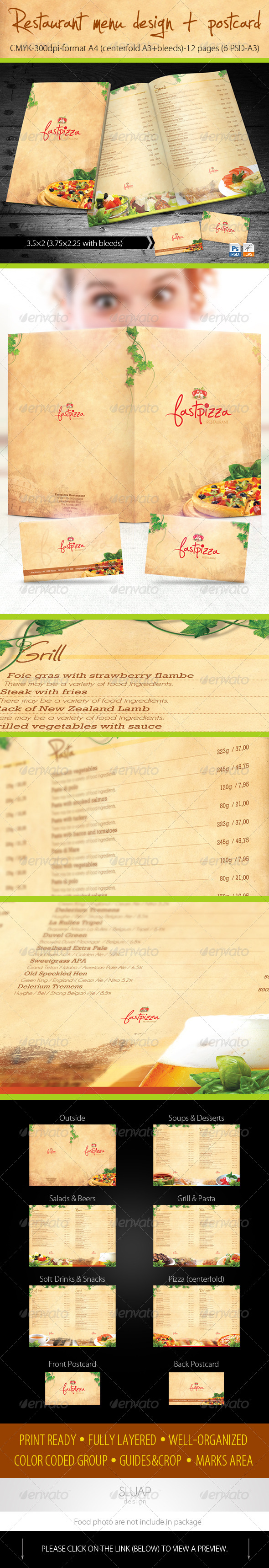Restaurant Menu Design + Postcard - Food Menus Print Templates