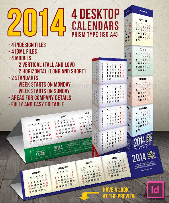 GraphicRiver 2014 4 Prism Type Desktop Calendars A4 4117991