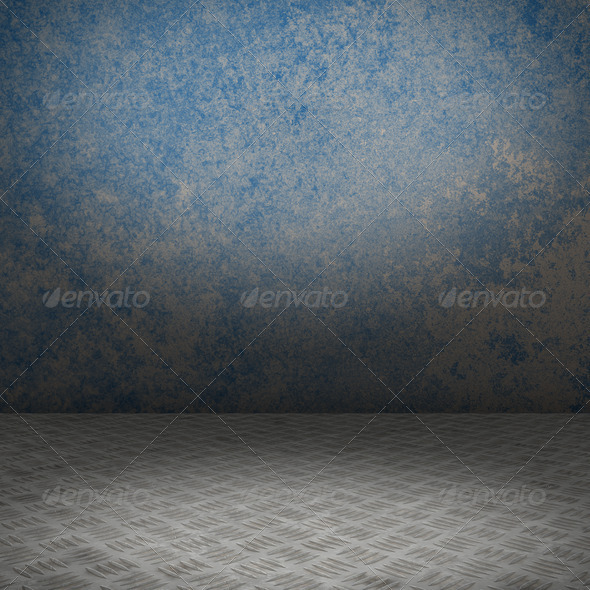 Grunge interior with metal floor - Stock Photo - Images