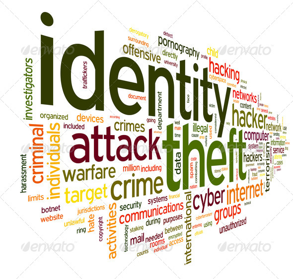 Identity theft in word tag cloud - Stock Photo - Images