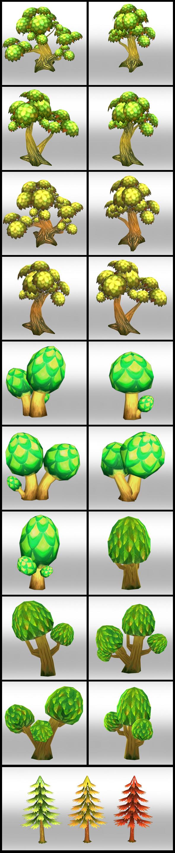 3DOcean Lowpoly Fantasy Trees pack 4298762
