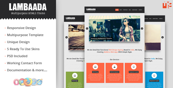 Lambaada - Responsive Multipurpose/Portfolio Theme - This is the preview for the file.