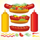 Fast Food Collection. Hot Dogs with Ingredients - GraphicRiver Item for Sale