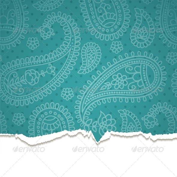 GraphicRiver Torn Paper with a Paisley Pattern 4300261