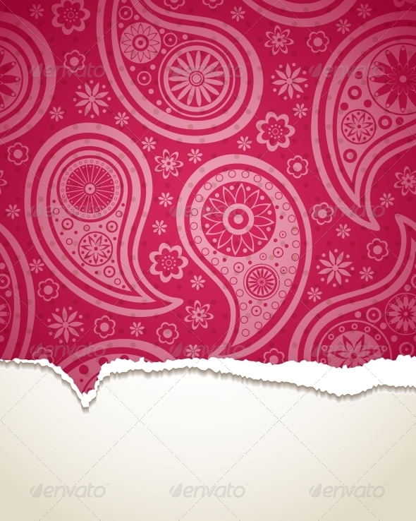 GraphicRiver Torn Paper with a Paisley Pattern 4301096