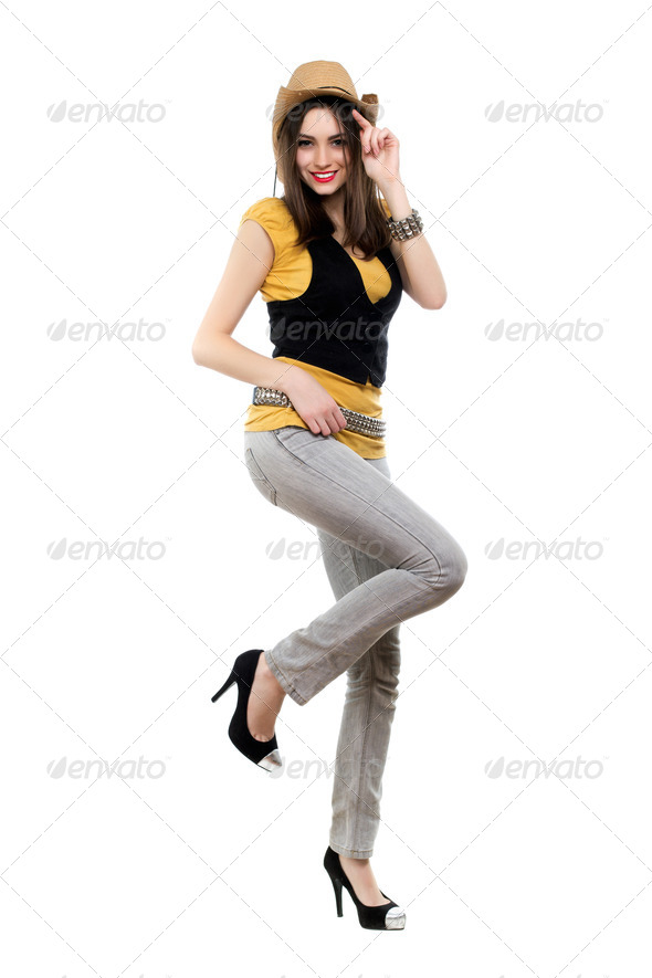 Young smiling brunette - Stock Photo - Images
