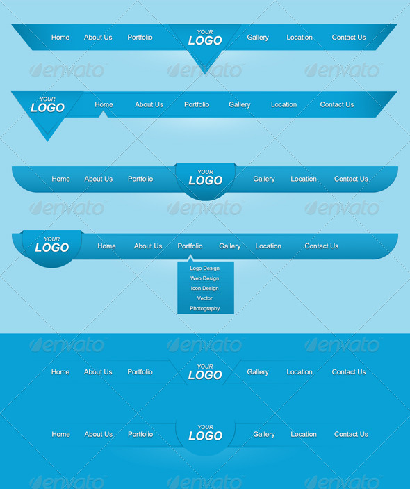 GraphicRiver Blue Navigations Set 4305365