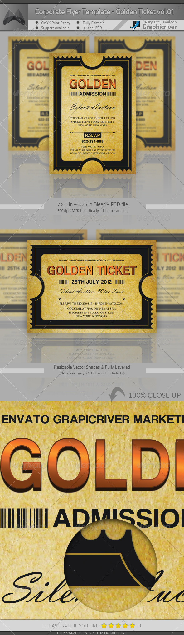 Corporate Invitation - Golden Ticket - Invitations Cards & Invites