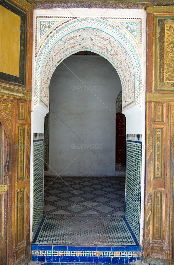 Bahia Palace Marrakesh door - Stock Photo - Images