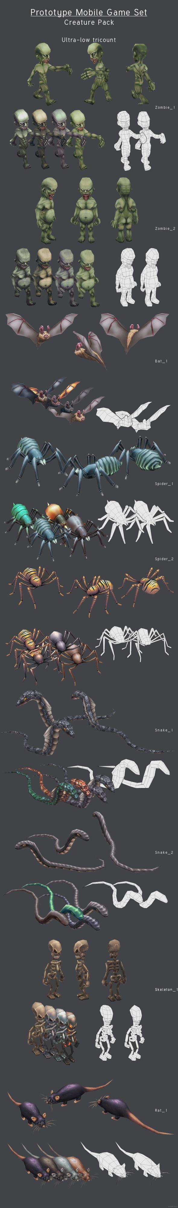 3DOcean Prototype Mobile Game Set Creature Pack 4307552