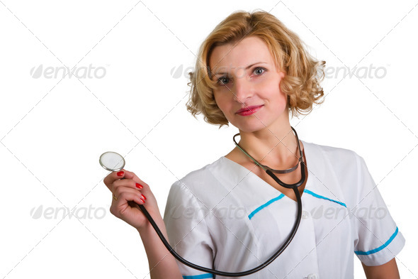 PhotoDune female doctor on a white background 4307865