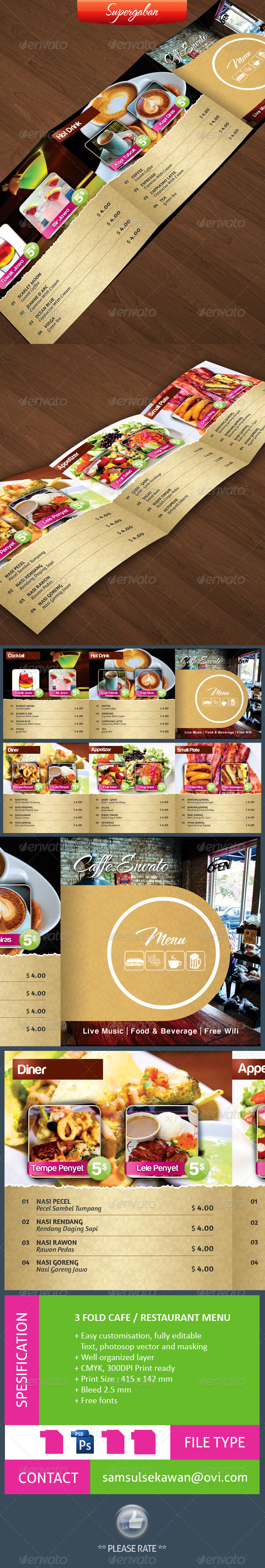 GraphicRiver 3 Fold Square Cafe Restaurant Menu 4308749