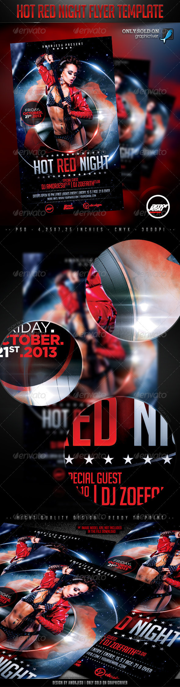 Hot Red Night Flyer Template - Clubs & Parties Events