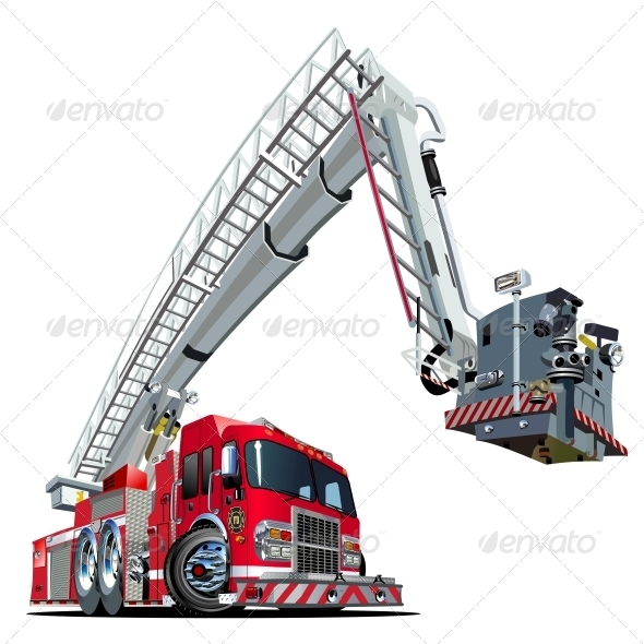 GraphicRiver Vector Cartoon Fire Truck 4308952