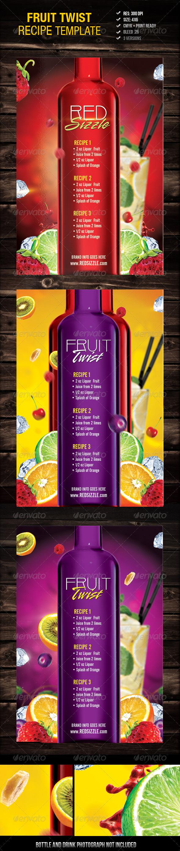 GraphicRiver Fruit Twist Recipe Flyer 3196327