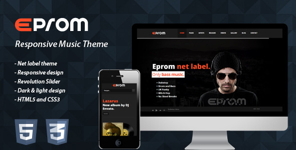 Eprom - Responsive Music Theme - Entertainment Site Templates