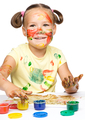 Portrait of a cute girl playing with paints - PhotoDune Item for Sale