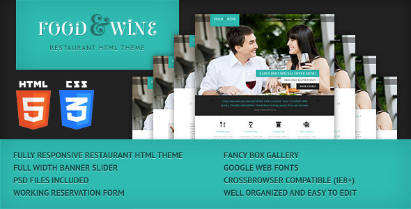 ThemeForest Food & Wine HTML Responsive Theme 4311360