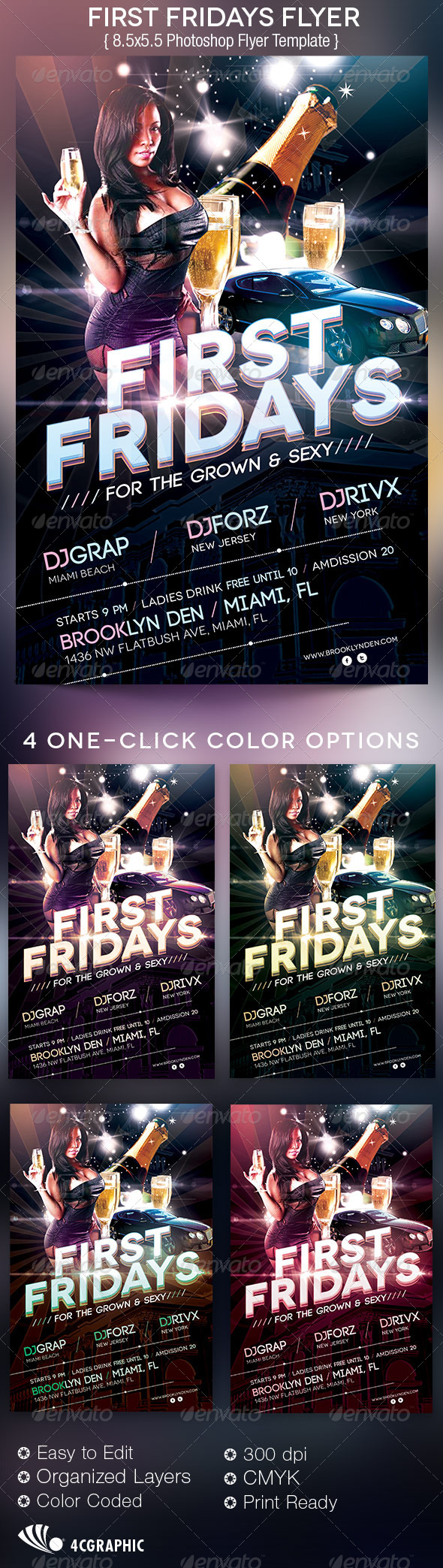 First  Fridays Flyer Template - Clubs & Parties Events