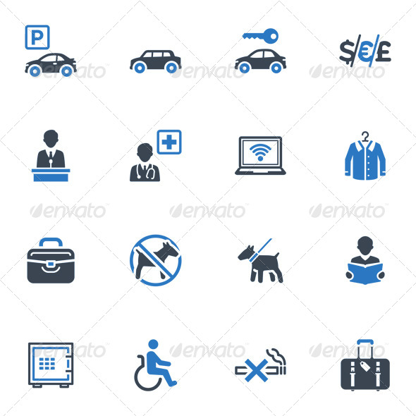 GraphicRiver Hotel Services and Facilities Icons Set 1 Blue 4312237