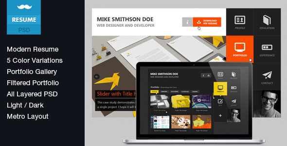ThemeForest Flat Resume Virtual Business Card PSD 4312291