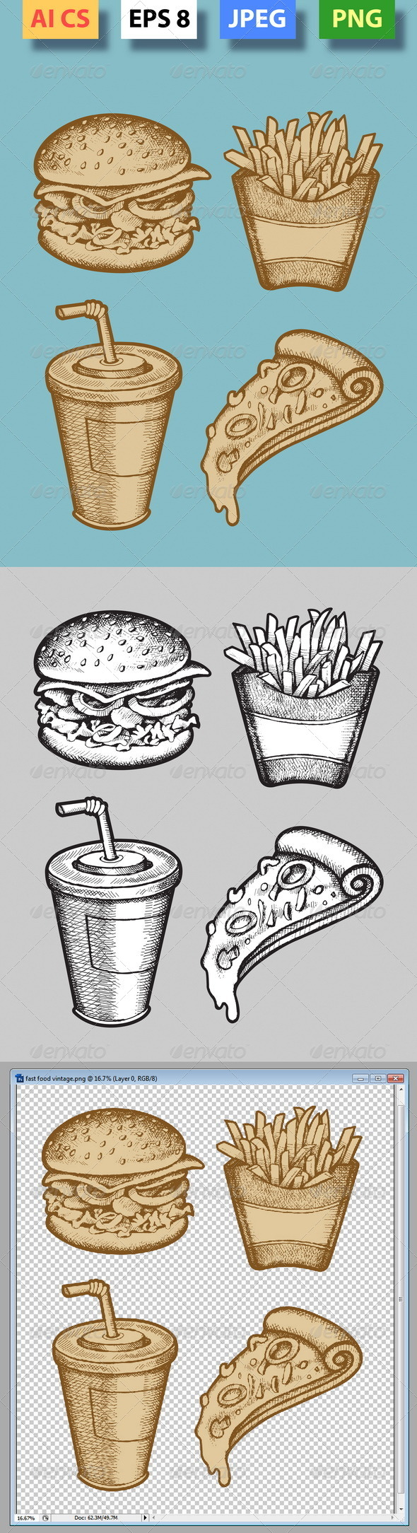 GraphicRiver Fast Food Hand Drawn 4312292