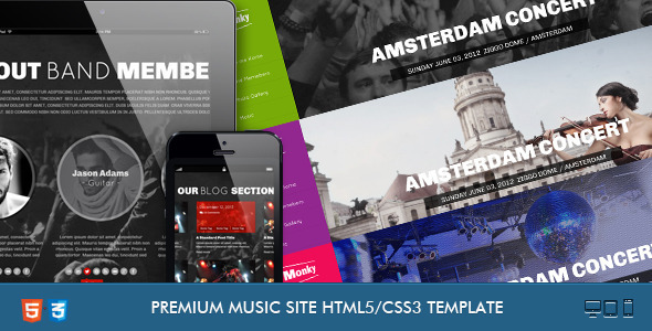 ThemeForest Monkey-Music Band Responsive Template 4312314