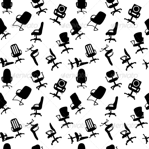 GraphicRiver Seamless Pattern of Office Chairs Silhouettes 4312375