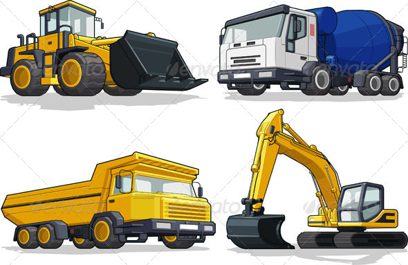 GraphicRiver Construction Vehicles 4313464
