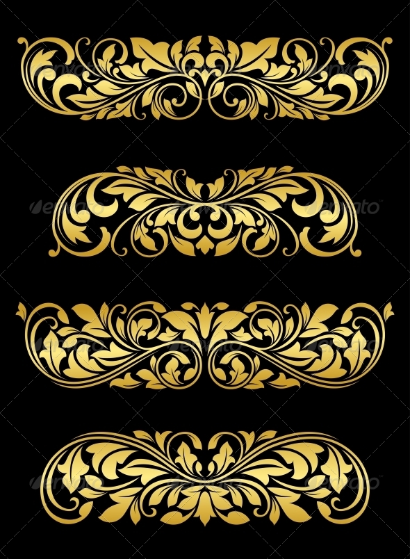 GraphicRiver Golden Floral Elements and Embellishments 4315194