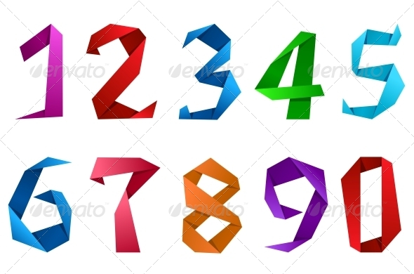 Numbers in Origami Style - Decorative Symbols Decorative