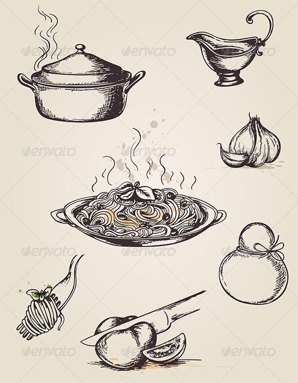 GraphicRiver Vintage Hand Drawn Pasta 4318325